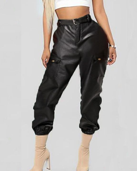 PU Leather Belted Flap Pocket Capris Pants gallery 1