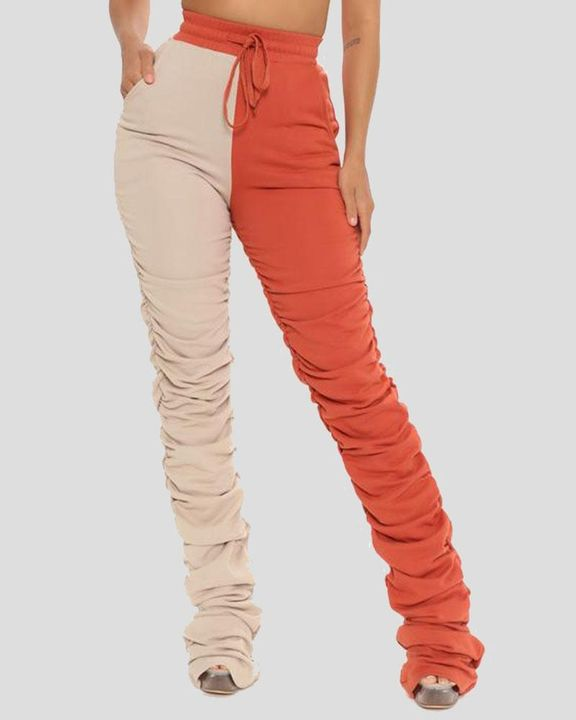 Two-Tone Drawstring Ruched High Waist Pants gallery 1