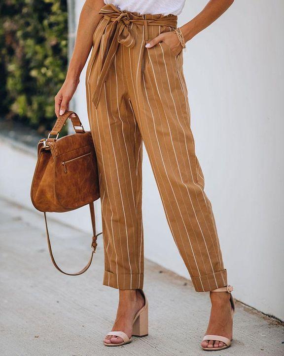 Stripe Belt Tie Paperbag Waist Straight Leg Pants gallery 1