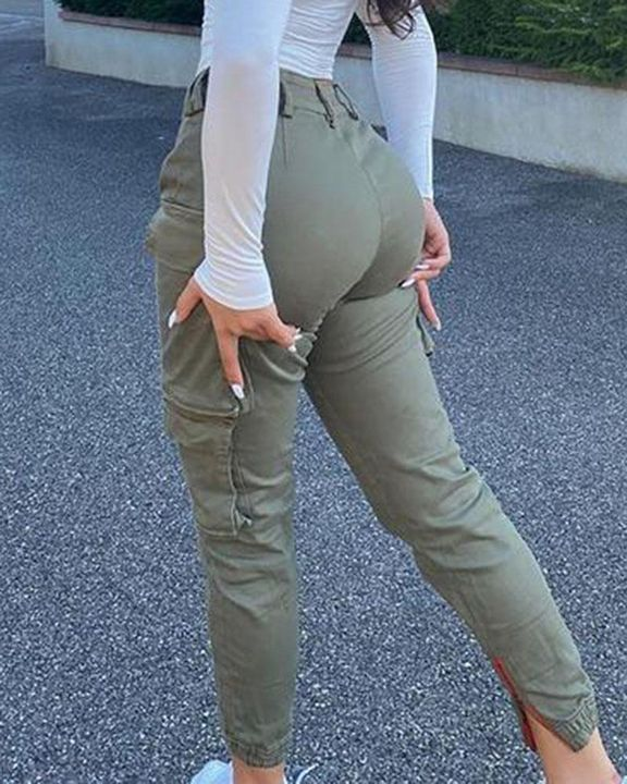 Solid Flap Pocket Side Mid Waist Joggers gallery 7