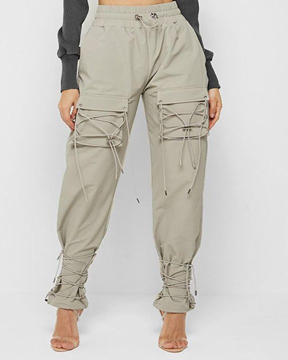 High Waist Lace Up Design Ankle Tie Pants gallery 1
