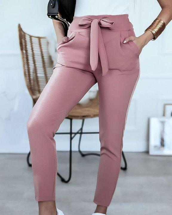 Solid Eyelet Blet Tie Crop Pants gallery 3