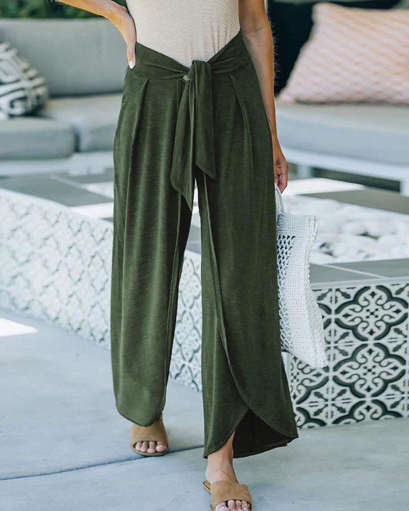 Solid Tie Front Split Hem Wide Leg Pants gallery 3