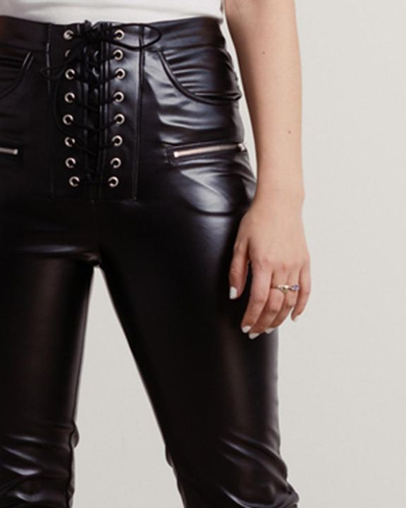 Eyelet Lace Up Front Zip Detail PU Pants gallery 4