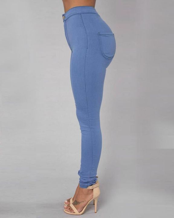 Solid Patch Pocket High Waist Zip Fly Skinny Pants gallery 11