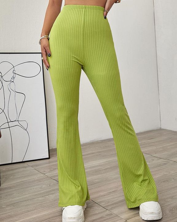 Solid Ribbed High Waist Wide Leg Pants gallery 6