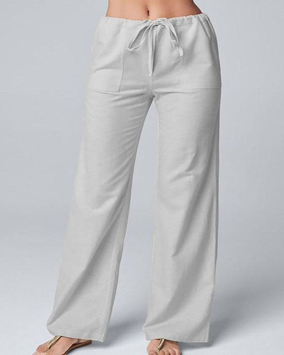 Solid Drawstring Slant Pocket Wide Leg Pants gallery 3