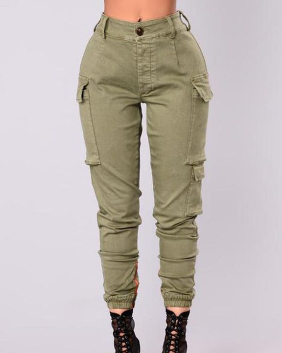 Solid Flap Pocket Side Mid Waist Joggers gallery 1