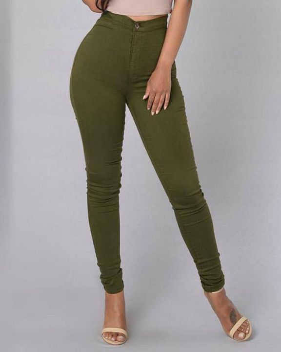 Solid Patch Pocket High Waist Zip Fly Skinny Pants gallery 10
