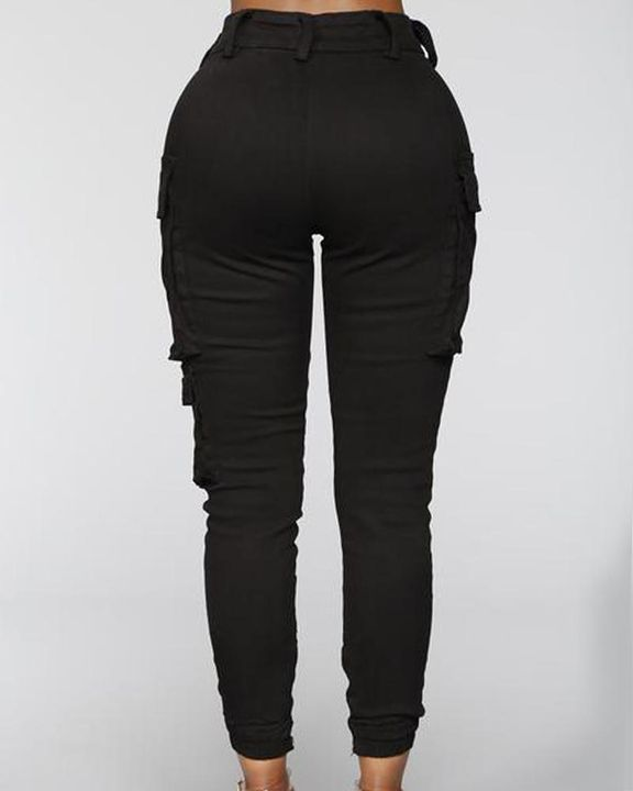 Solid Flap Pocket Side Mid Waist Joggers gallery 9