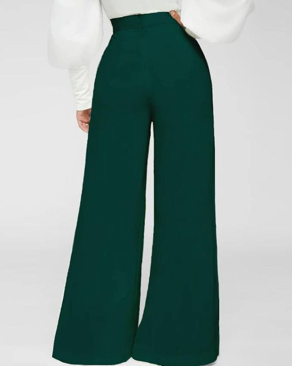 Solid Zip Up Back Pleated Wide Leg Pants gallery 2