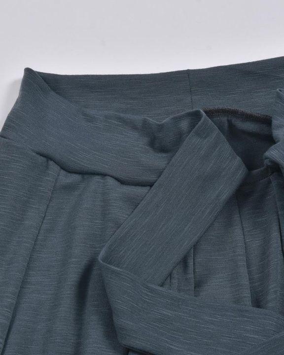 Solid Tie Front Split Hem Wide Leg Pants gallery 6