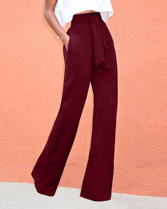 Solid Belted Slant Pocket Flare Leg Pants gallery 6