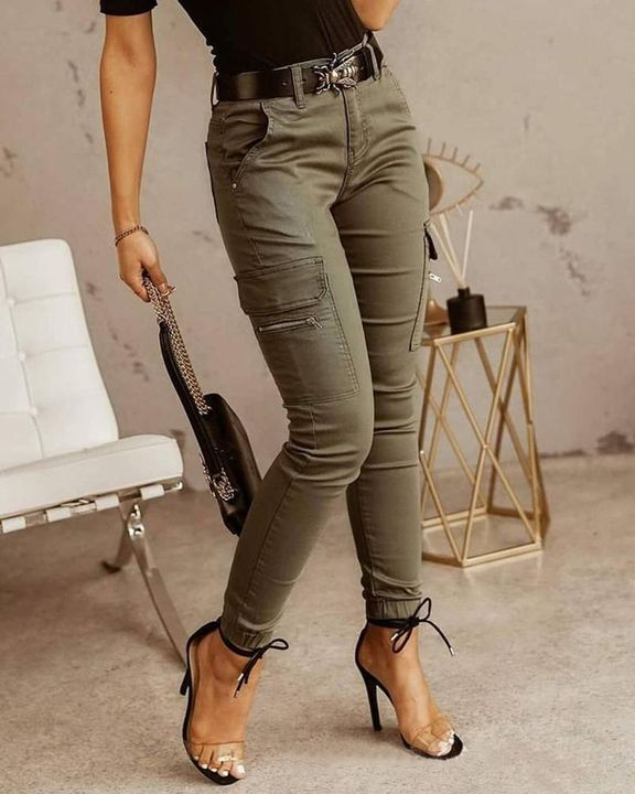 Solid Pocket Detail Skinny Pants Without Belt gallery 1