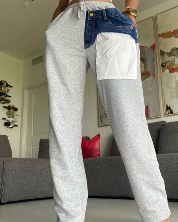 Patched Pocket Detail Drawstring Waist Straight Leg Pants gallery 1