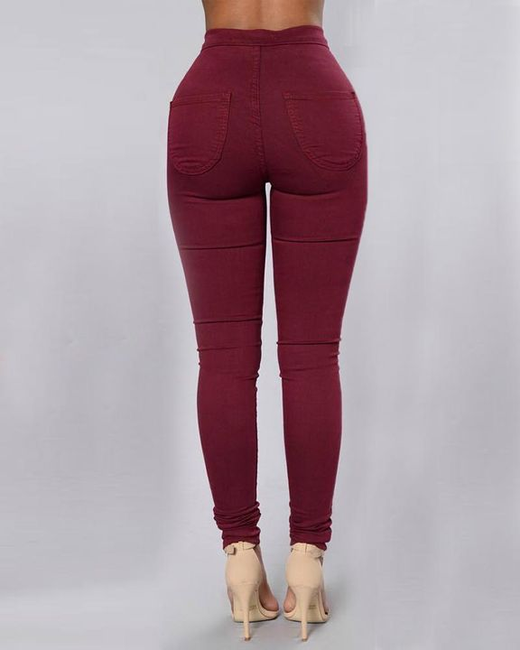 Solid Patch Pocket High Waist Zip Fly Skinny Pants gallery 9