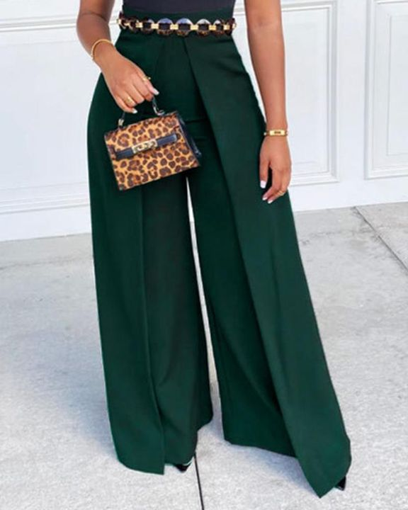 Solid Zip Up Back Pleated Wide Leg Pants gallery 3