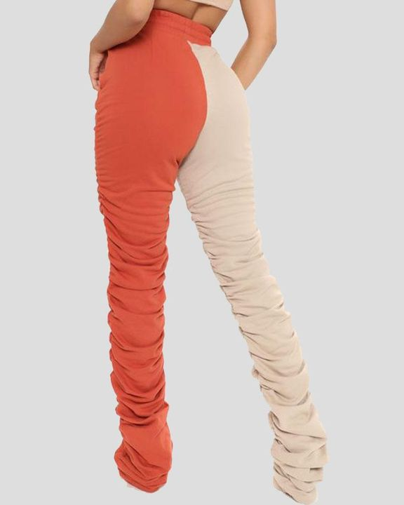 Two-Tone Drawstring Ruched High Waist Pants gallery 4