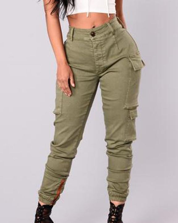 Solid Flap Pocket Side Mid Waist Joggers gallery 4