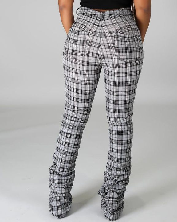 Plaid Print High Waist Stacked Pants gallery 9