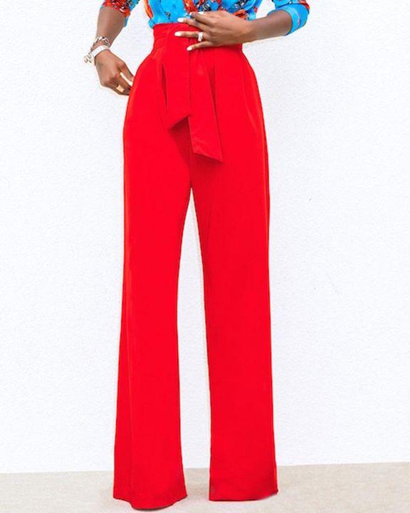 Solid Belted Slant Pocket Flare Leg Pants gallery 3