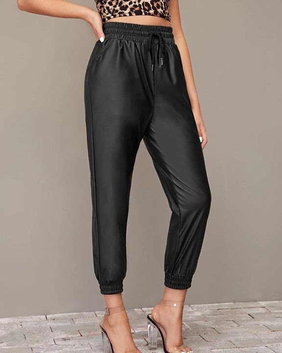 PU Leather Drawstring High Waist Cropped Pants gallery 1
