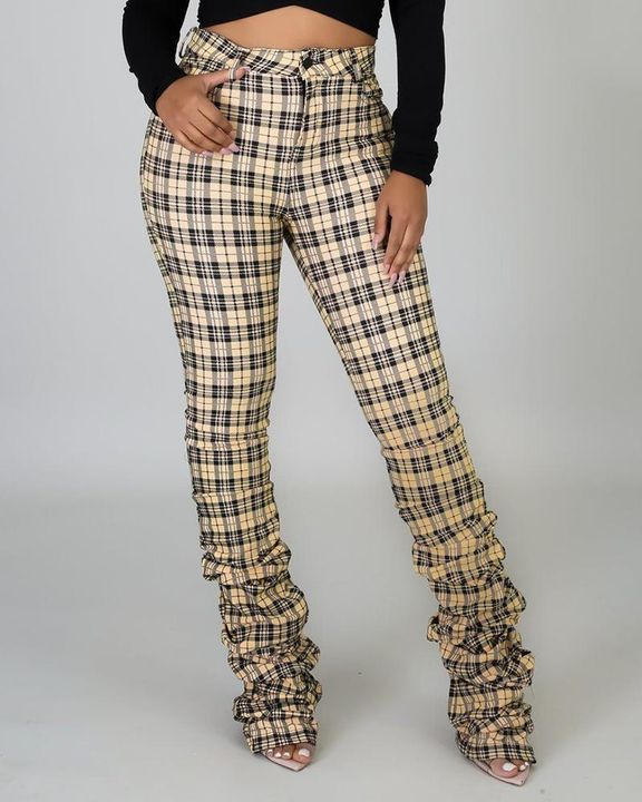 Plaid Print High Waist Stacked Pants gallery 2