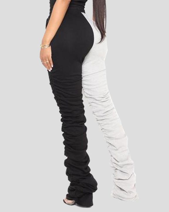 Two-Tone Drawstring Ruched High Waist Pants gallery 5