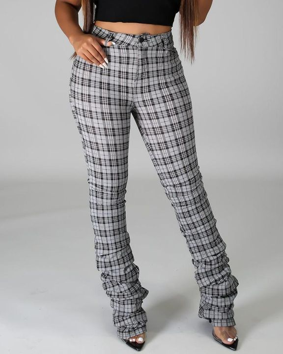 Plaid Print High Waist Stacked Pants gallery 3