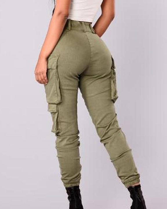 Solid Flap Pocket Side Mid Waist Joggers gallery 5