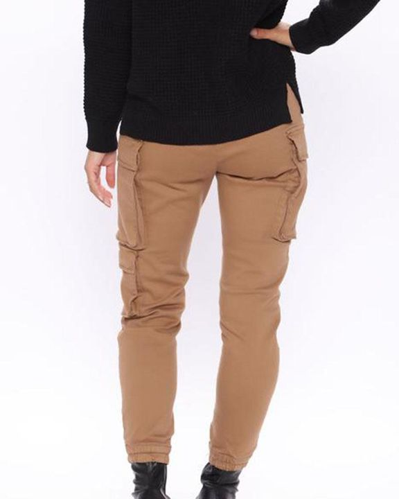 Solid Flap Pocket Side Mid Waist Joggers gallery 12