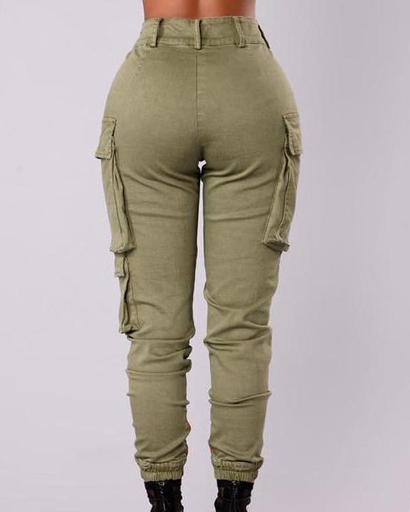 Solid Flap Pocket Side Mid Waist Joggers gallery 10