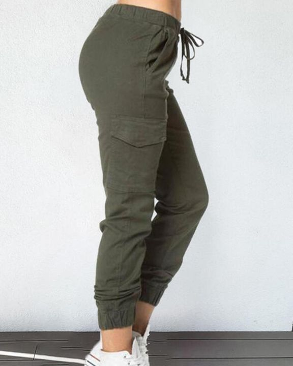 Solid Drawstring Flap Pocket Side Joggers gallery 3