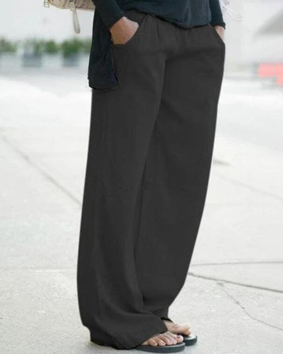 Solid Slant Pocket Mid Waist Wide Leg Jeans gallery 2