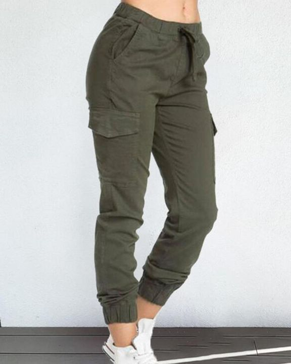 Solid Drawstring Flap Pocket Side Joggers gallery 1