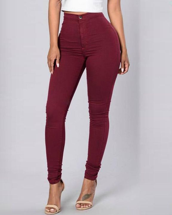 Solid Patch Pocket High Waist Zip Fly Skinny Pants gallery 4