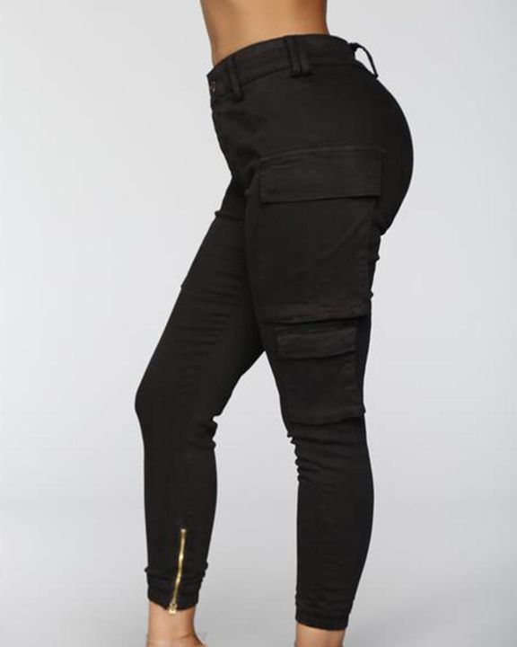 Solid Flap Pocket Side Mid Waist Joggers gallery 8