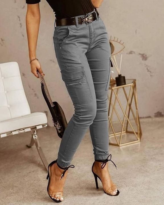 Solid Pocket Detail Skinny Pants Without Belt gallery 3
