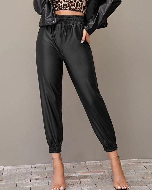 PU Leather Drawstring High Waist Cropped Pants gallery 2