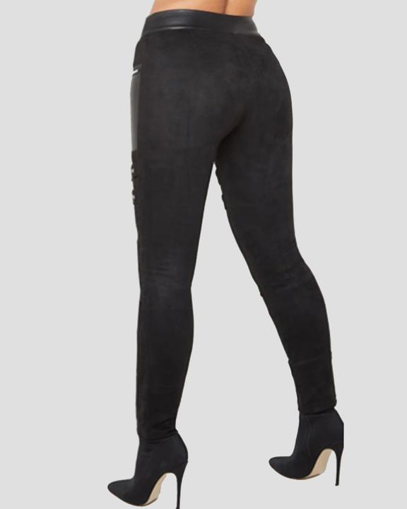 PU Patchwork Zipper Design High Waist Skinny Pants  gallery 2