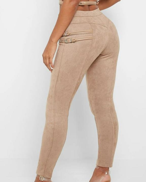 High Waist Half Zip Buckle Decor Skinny Pants gallery 6
