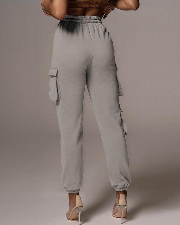 Flap Pocket Drawstring Front High Waist Joggers gallery 14