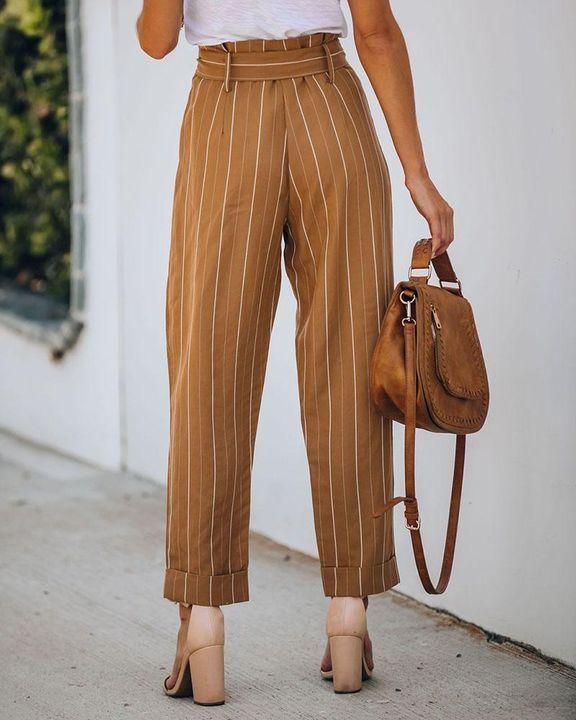 Stripe Belt Tie Paperbag Waist Straight Leg Pants gallery 5