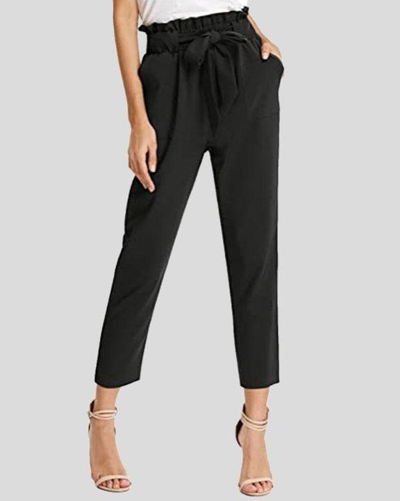 High Waist Belt Tie Paperbag Waist Crop Pants gallery 1