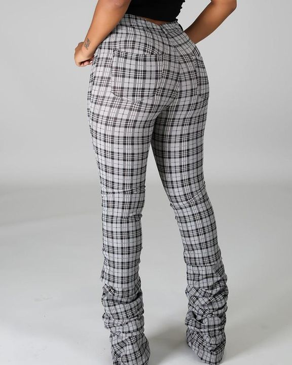 Plaid Print High Waist Stacked Pants gallery 8