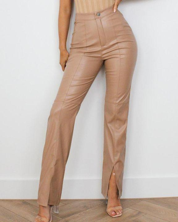 High Waist Split Hem PU Pants gallery 1