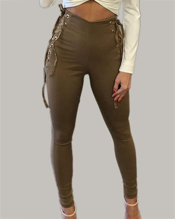 Eyelet Lace Up Side Zip Up Back High Waist Pants gallery 2