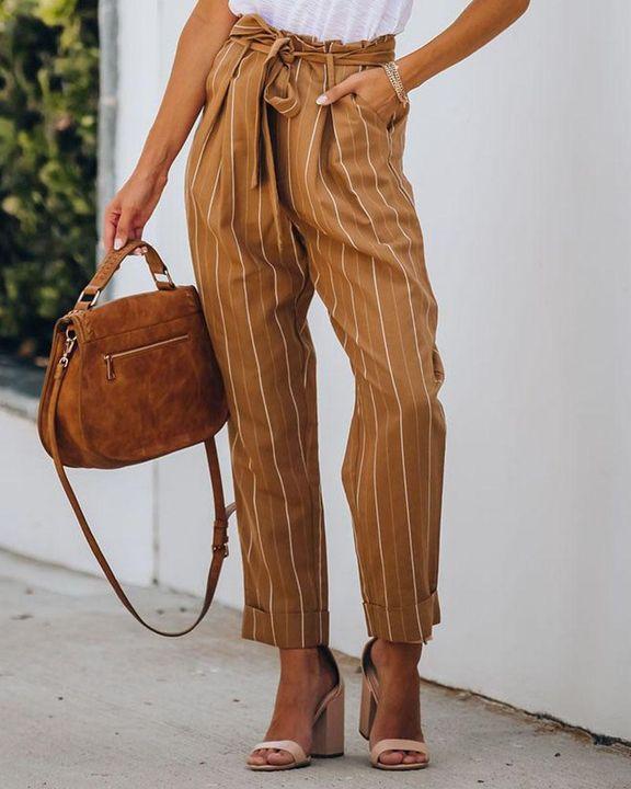 Stripe Belt Tie Paperbag Waist Straight Leg Pants gallery 4