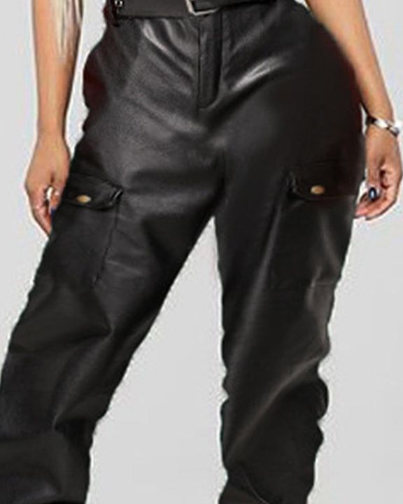 PU Leather Belted Flap Pocket Capris Pants gallery 2