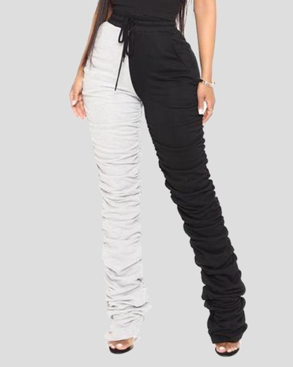 Two-Tone Drawstring Ruched High Waist Pants gallery 2